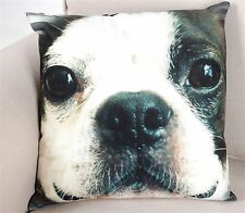 Dog Cushion Approx 43cm x 44cm BostonTerrier Face - Black Colour Back