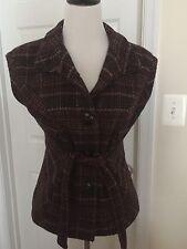 CAbi CINCH IT UP Vest Jacket Brown Plaid Wool Tweed Tie Front #691 Size Medium