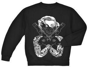 Marilyn Monroe sweatshirt sweater sweat shirt gangster guns tattoos urban design