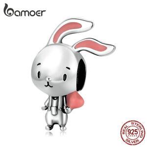 BAMOER S925 Sterling Silver DIY Charm Pink Enamel Energetic Rabbit For Bracelet