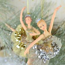 "Nutcracker Ballet Pair 0f Ballerinas in Gold & Silver 6.5"" Christmas Ornaments"