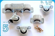 5 Rigid Rubber Fixed Caster Wheels Casters 30mm Furniture Beds Drawers Boxes