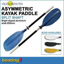 Premium 2.17m Blue Aluminium Asymmetric Kayak Paddle Canoe (Split Shaft)