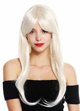 Perruque Femme Long Lisse Longue Frange Raie Blond Blond Platine Méché