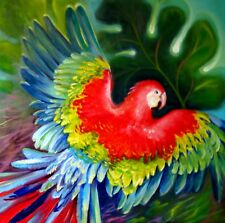 """""""Back to Freedom"""" 24X24"""" Red Macaw Parrots Original Oil Painting by Nadia Bykova"""