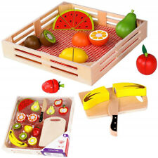Timy Play Food Kitchen Wooden Pretend Cutting Fruits Playset for Kids Toddlers