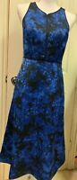 Beautiful Banana Republic Kristi Floral Dress Size 0 Blue Floral Midi Length NWT