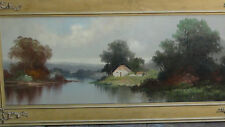 ANTIQUE 19c FRENCH ORIGINAL  OIL ON BOARD PAINTING OF RIVER SCENE W/COTTAGE