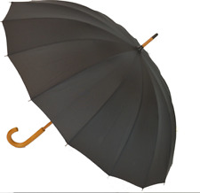 SOAKE 16 Rib Men's Black Walking Length Umbrella 103cm Gents Manual Stick Large