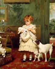 A Little Girl With Her Dogs by C B Barber - Art Puppies Terrier 8x10 Print 232