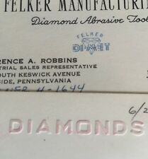Two Vintage DIAMOND BUSINESS CARDS Miami Florida Felker Manufacturing PA