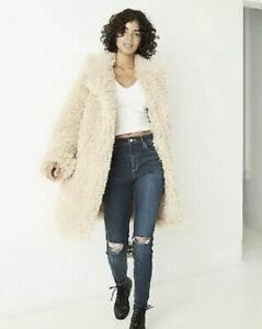 NEW Wild Fable Womens Teddy Bear Faux Fur  Trench Tan Beige OverCoat Sz L Coat