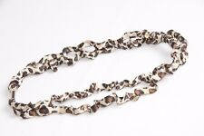 Gold Beige Brown & Black Satin Scrunch Leopard Print Double Row Headband (s144b)