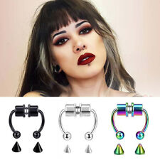 Fake Septum Nose Ring Segment Helix Tragus Faux Clicker Non-Piercing Magnetic UK