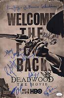 Ian McShane DEADWOOD Cast X11 Signed 11x17 Photo IN PERSON Autograph JSA COA