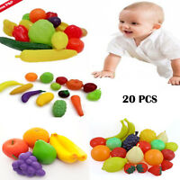 20Pcs Kids Pretend Role Play Kitchen Fruit Vegetable Food Toy Cutting Set UK