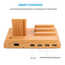 4 Port USB Organizer Charging Stand Station Dock For iOS Android Phones Tablet