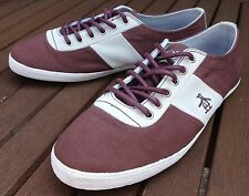 Original Penguin Maroon Brown Grey Canvas Suede Pumps Trainers Shoes UK 6 EU 40