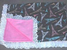 "Eiffel Tower 45"" x 39"" Fleece & Flannel Baby Blanket Pink Gray Hand Made PARIS"