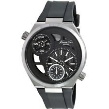 Kenneth Cole NY KC1683 Men's Black Skeleton With Black Rubber Strap Dual Watch