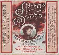 """CRÊME SAPHO"" Etiquette-chromo originale fin 1800"