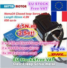 【FR+EU】2 Sets 4.5N.m Nema34 82mm Hybrid Closed Loop Servo Motor 6A+HSS86 Driver