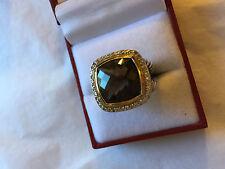 David Yurman 14mm Smokey Quartz 18K Gold Silver Diamond Ring Smoky Size 7