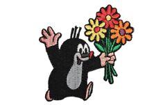 Der kleine Maulwurf - Pauli - 7 cm * 7 cm - BÜGELBILD mit Blumenstrauß