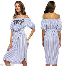 Womens Ladies Off The Shoulder Peplum Sleeves Striped Embroidered Mini Dress NEW