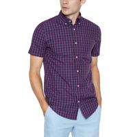 Maine New England Plum Cotton Checked Short Sleeve Shirt Regular Fit RRP £18