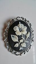 Beautiful White Flower Cameo Brooch Medieval Pin Pagan Gothic Wedding Wedding