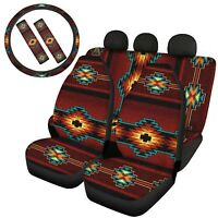 Indian Car Seat Covers Front&Rear Seat Belt Steering Wheel Covers Combo Set 7pcs