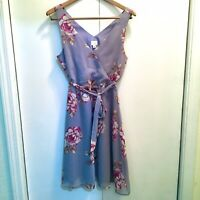 A New Day Floral Purple Vneck Midi Dress Sleeveless Size Small