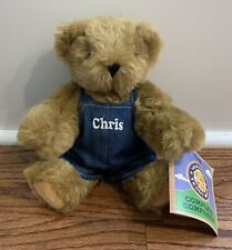 """Vermont Teddy Bear """"Chris"""" Denim Overalls Jointed 11"""" Plush Stuffed Toy NWT"""