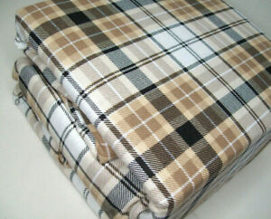 Home Collection Ashley Cooper Cotton Flannel Brown Plaid Queen Sheet Set New