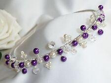 Handmade Bridal Prom - Purple Pearls, Clear & AB Crystal Silver Tiara headband