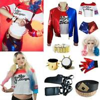 Women Girls Cosplay Harley Quinn Ladies Costume FULL Set Halloween Suicide Squad