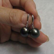 Tahitian Pearl & Diamonds 14k White Solid Gold Dangle Hook Earrings TPJ