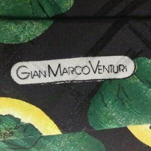 Black Yellow Floral VENTURI Silk Tie