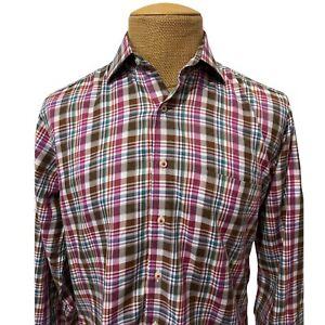 Peter Millar Men's Dress Shirt Plaid Purple Blue 100% Cotton Size Medium