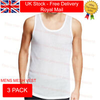 King Ice Mens Vests Sleeveless 100% Cotton Mesh Summer Gym Pack Plain 3 PACK