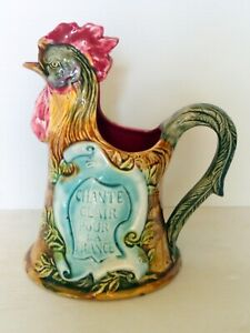 Pitcher Shape Rooster The Gallic N°658 Slip D'ONNAING Majolica Antique