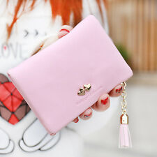 Women Leather Tassel Pendant Short Wallet Female Korean Large Capacity Clutch