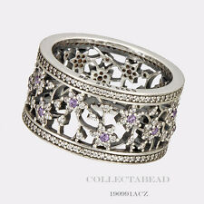 Authentic Pandora Silver Round Forget Me Not Purple Ring Size (7) 54 190991ACZ