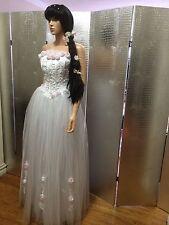 Strapless White Corset FEmanuel Ungaro APPARITION  3.0loral Ball Gown Size S 4-6