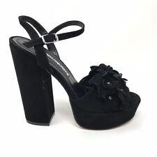 Charles David Women's Sz 5.5 Royale Platform Sandals Black Leather Floral Detail