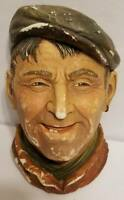 Vintage Chalkware Head The Tinker Legend Products w/ Earring Made In England