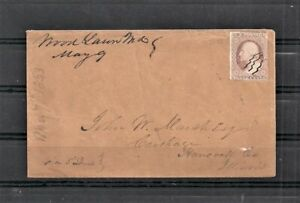 1853 Sc 11a Woodland MD to John W Marsh Carthage Ill Via St Louis Cover (SP11)