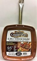 Copper Deep Square Copper Frying Pan Cookware Nonstick Fry Skillet Stainless New