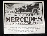 1904 OLD MAGAZINE PRINT AD, DAIMLER MFG CO, AMERICAN MERCEDES AUTOMOBILES!